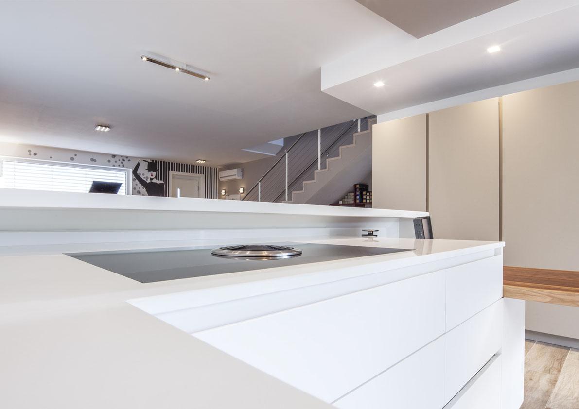 cucina total white con penisola